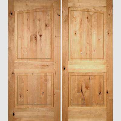 72 in. x 96 in. Rustic Knotty Alder 2-Panel Common Arch Unfinished Left-Hand Inswing Wood Double Prehung Front Door