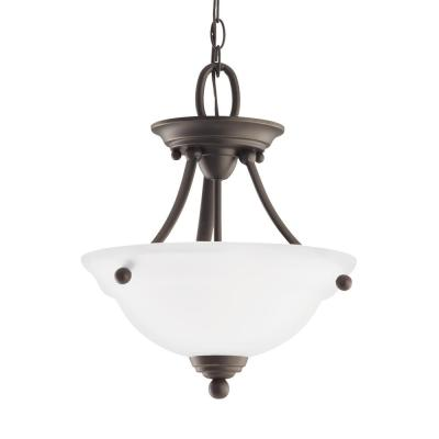 Wheaton 2-Light Heirloom Bronze Semi-Flushmount Convertible Pendant with LED Bulbs