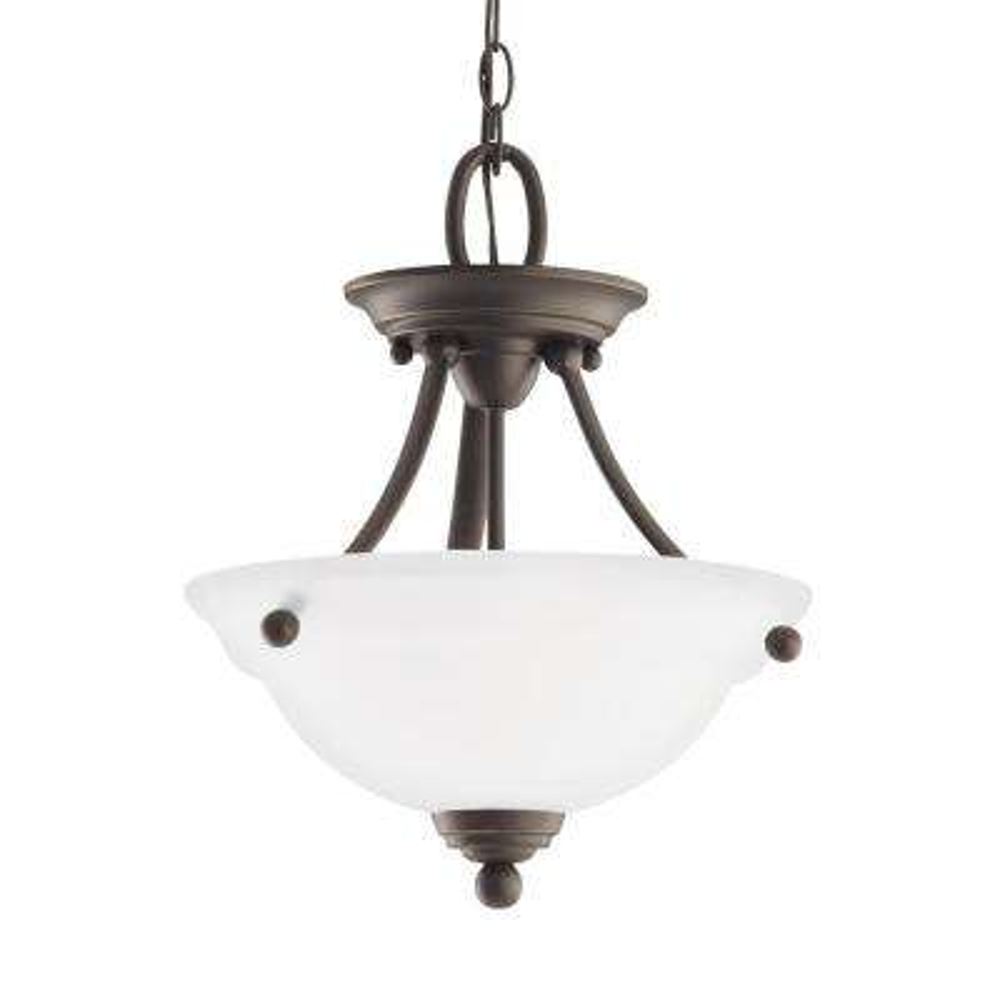 Wheaton 2-Light Heirloom Bronze Semi-Flushmount Convertible Pendant with LED Bulbs