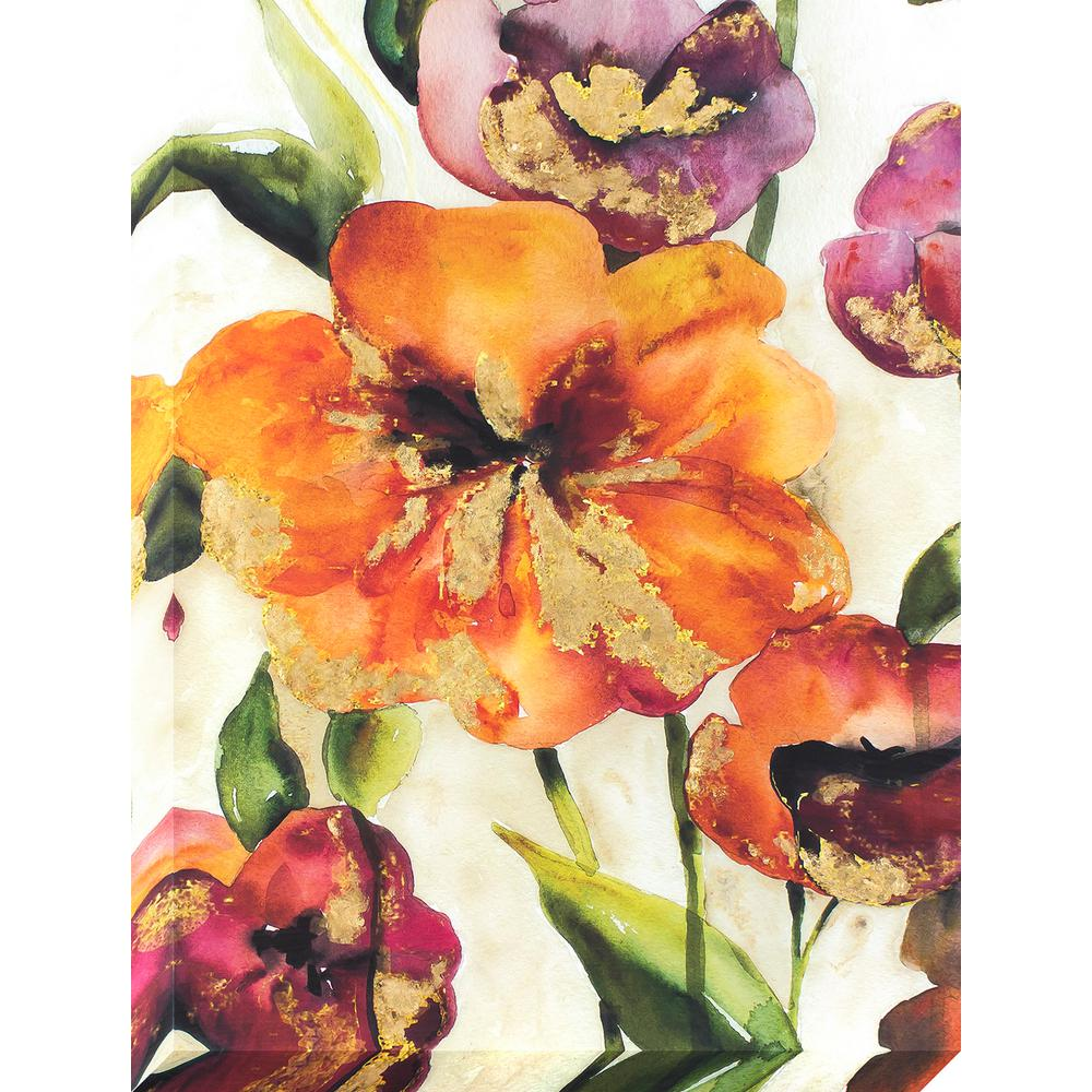Decor Therapy 40 In X 30 In Bright Hibiscus Flowers Gold Foil