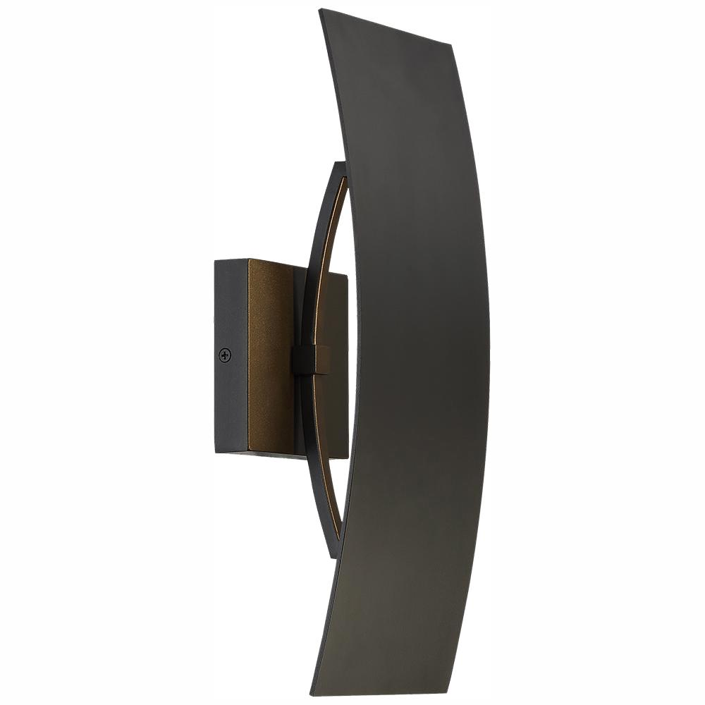 Home Decorators Collection Gardi 1-Light Sand Black Outdoor Integrated LED Wall Lantern Sconce with Etched Glass