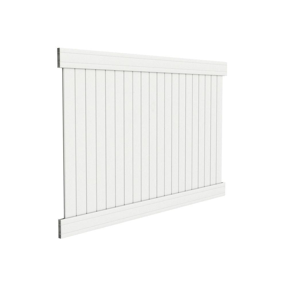 Dover 6 ft. H x 8 ft. W White Vinyl Privacy Fence Panel
