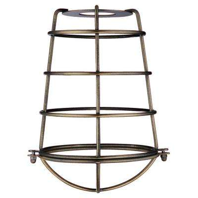 8-3/16 in. Antique Brass Industrial Cage Metal Shade with 2-1/4 in. Fitter and 6-5/16 in. Width