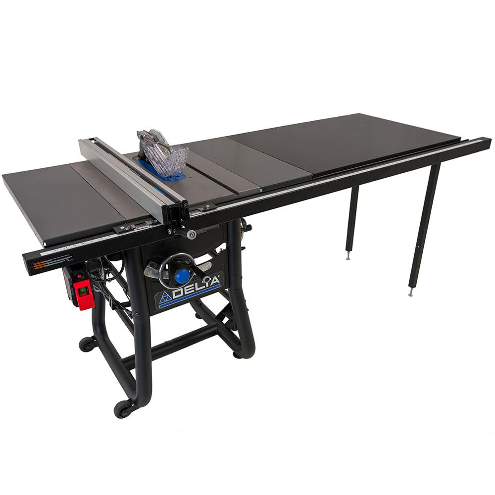 Delta 15 Amp 10 in. Table Saw with 52 in. Rip and Cast Iron Extension Tables