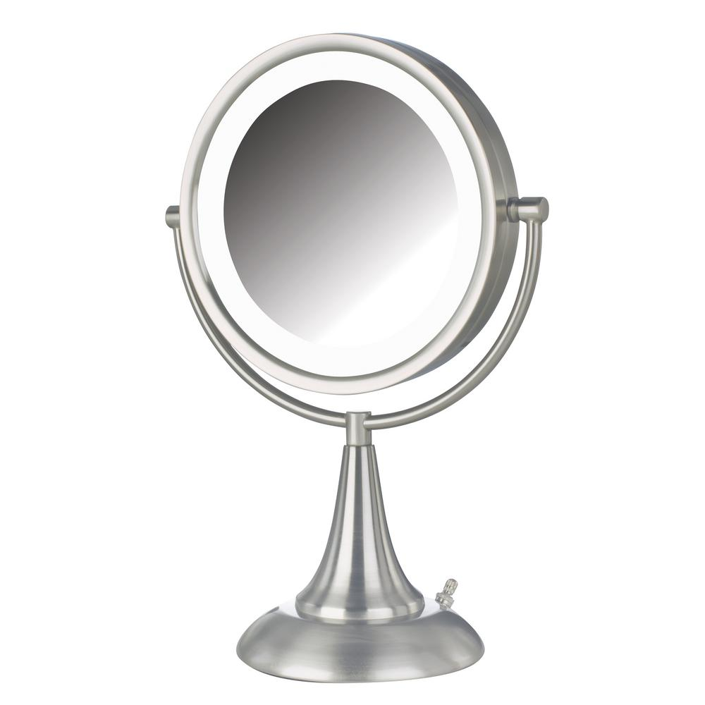 Jerdon 10 in. x 15 in. LED Lighted Table Mirror, Nickel