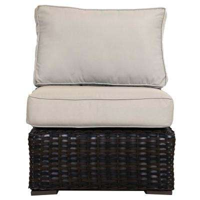 Santa Monica Patio Wicker Armless Middle Outdoor Sectional Chair with Fabric Tan Cushion