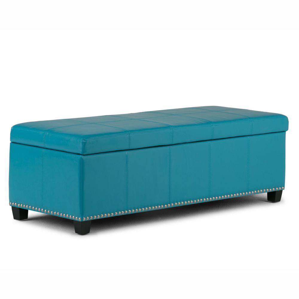 Simpli Home Kingsley Mediterranean Blue Large Storage Ottoman Bench