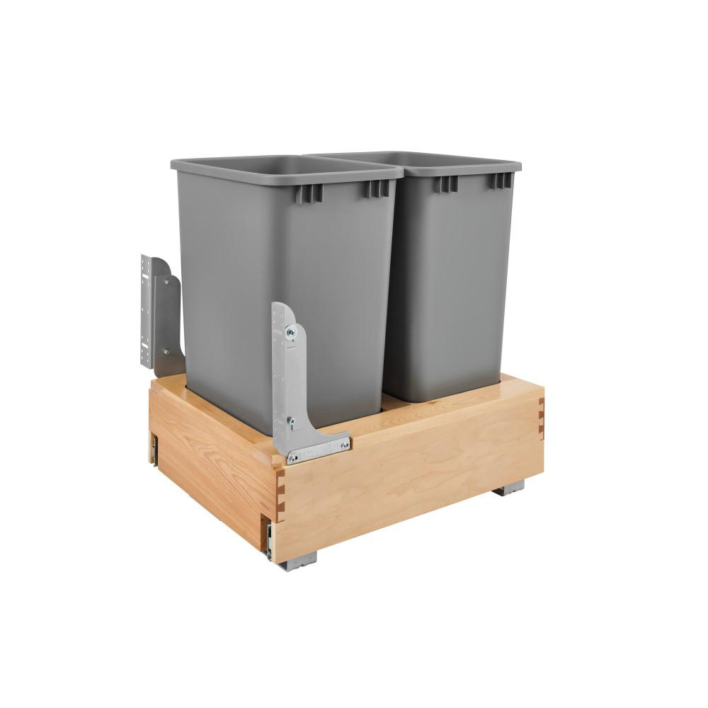 Rev-A-Shelf 23.188 in. H x 17.25 in. W x 21.75 in. D Double 50 Qt. Pull-Out Bottom Mount Wood and Silver Container with Rev-A-Motion
