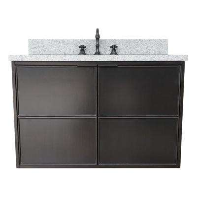 Scandi IV 37 in. W x 22 in. D Wall Mount Bath Vanity in Cappuccino with Granite Vanity Top in Gray with White Oval Basin
