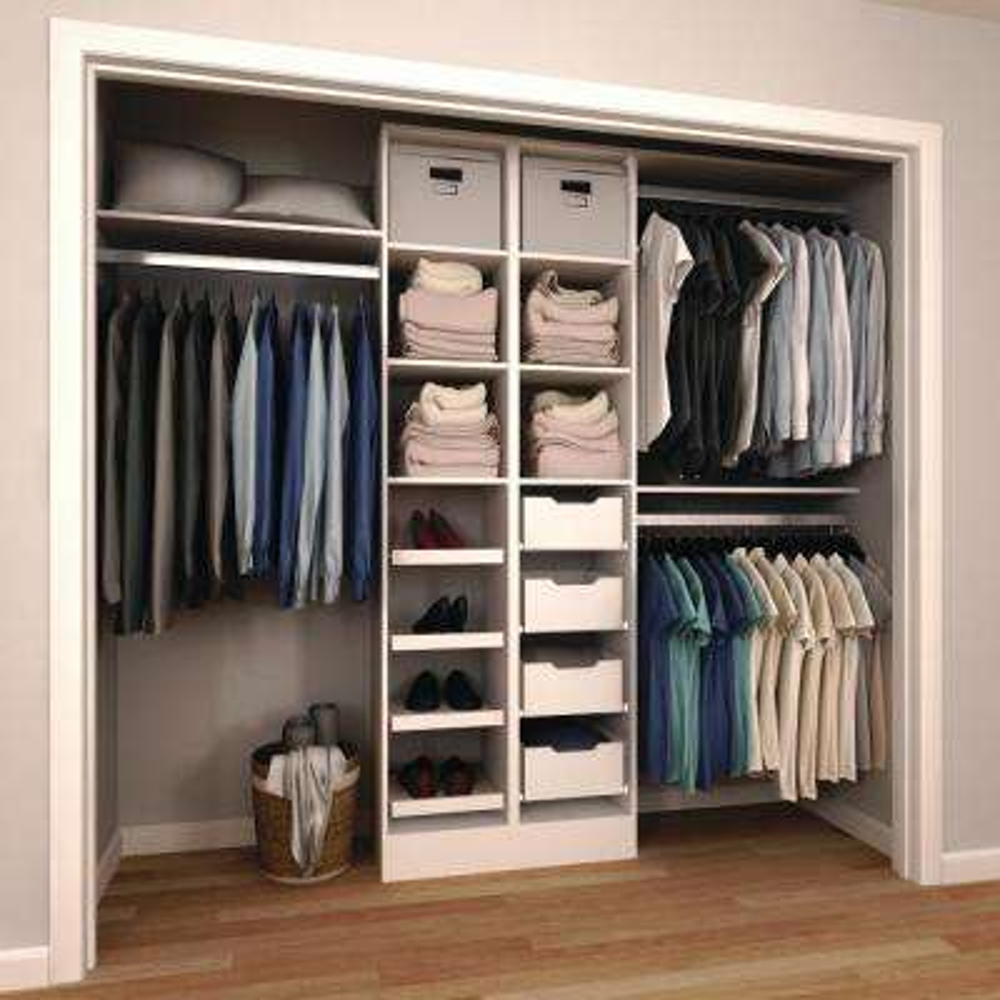 15 in. D x 120 in. W x 84 in. H Melamine Reach-In Closet System Kit in White