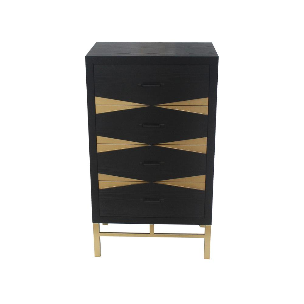 Black Wood 4-Drawer Storage Cabinet