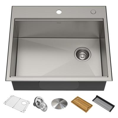 Kore Workstation Drop-In Stainless Steel 25 in. Single Bowl Kitchen Bar Sink