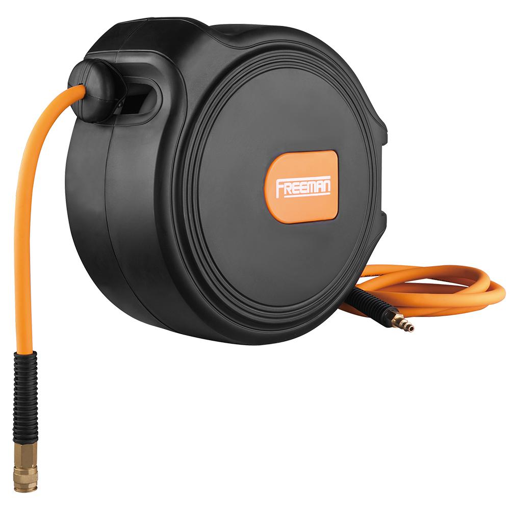 freeman 65 ft. compact retractable air hose reel with 3/8 in. hybrid air  hose and 180-degree swivel wall mount