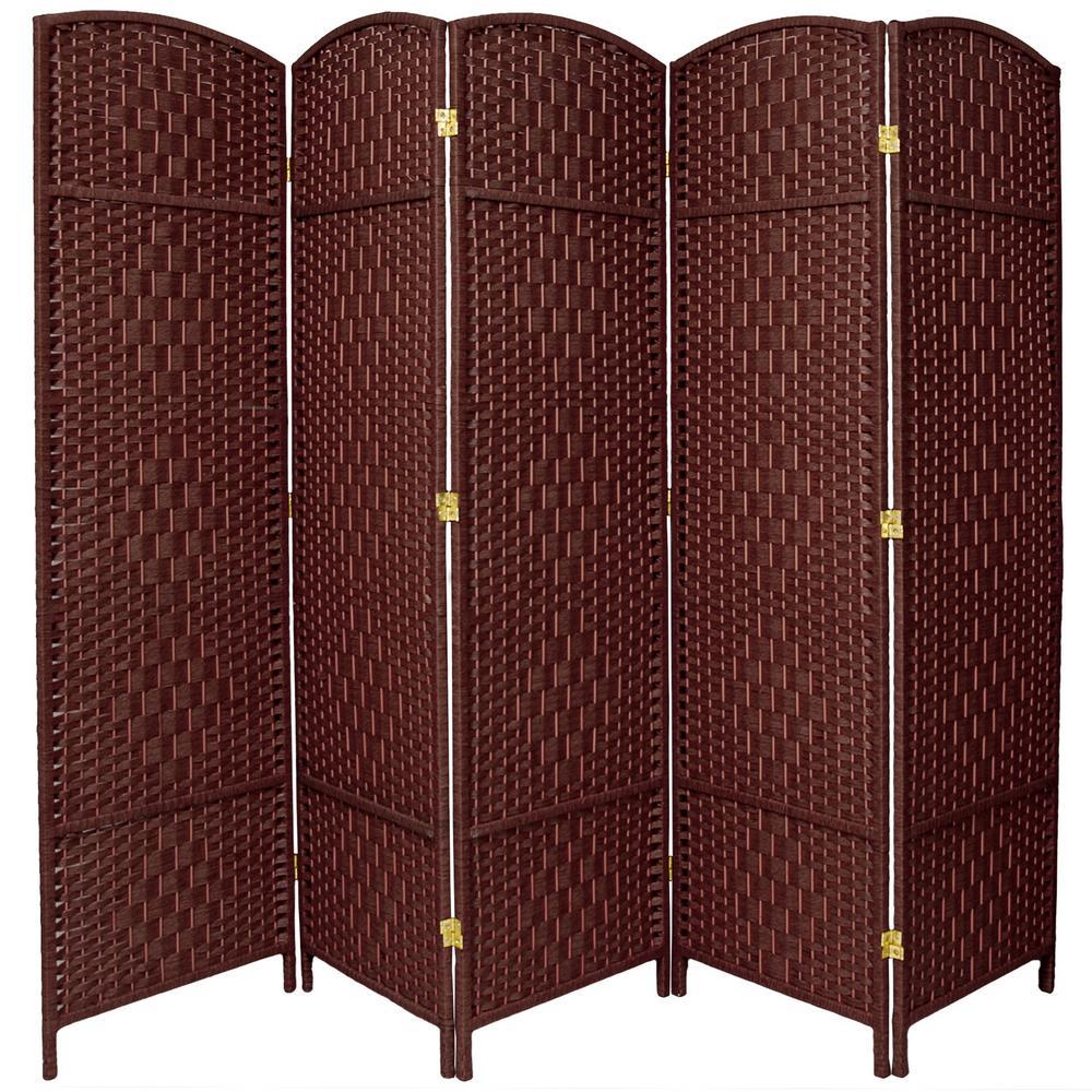 6 ft. Dark Red 5-Panel Room Divider