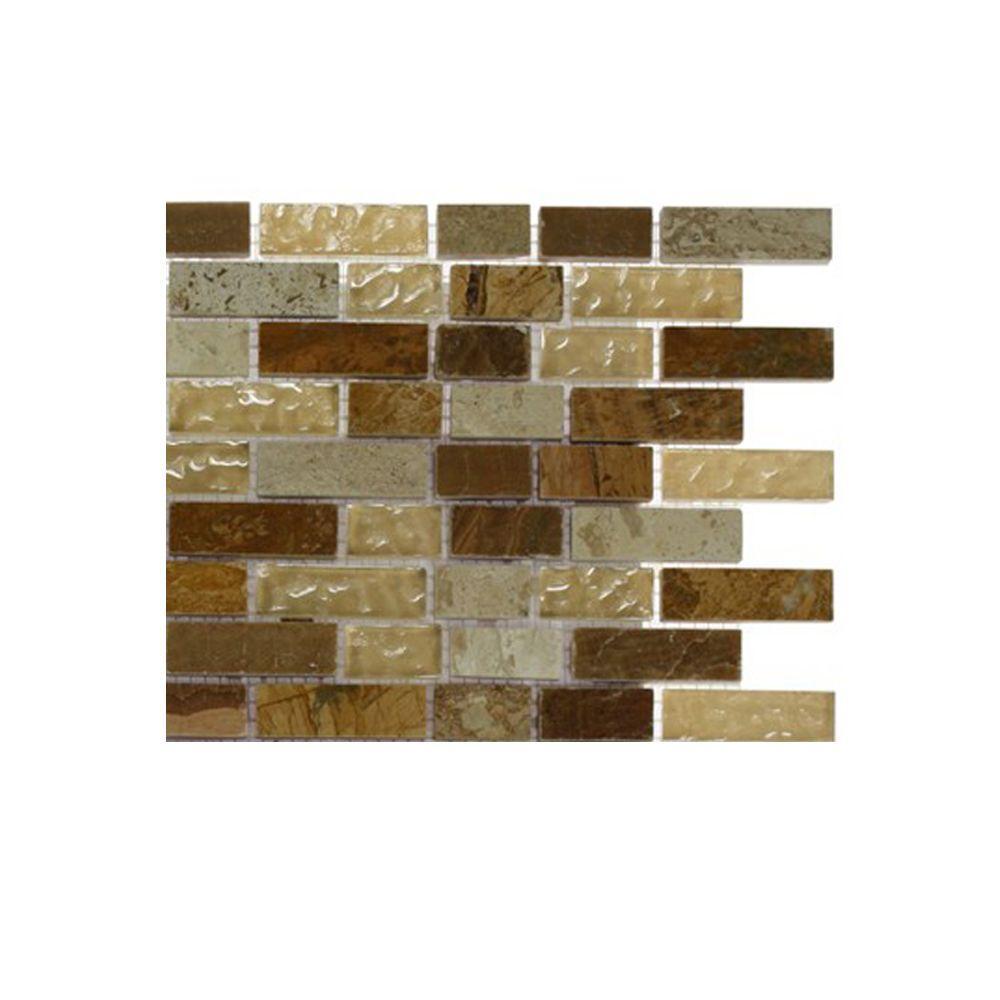 Splashback tile london bridge 1 2 in x 2 in glass and for Installing glass tile with mesh back