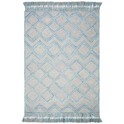 Sahara Gray/Aqua 6 ft. x 9 ft. Area Rug