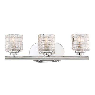 3-Light Polished Nickel Bath Light with Clear Glass