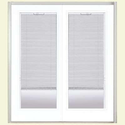 60 in. x 80 in. Ultra White Steel Prehung Left-Hand Inswing Mini Blind Patio Door in Vinyl Frame without Brickmold