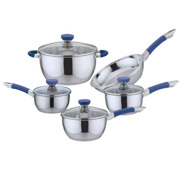 CULINARY EDGE 9-Piece Stainless Steel Cookware Set in Blue
