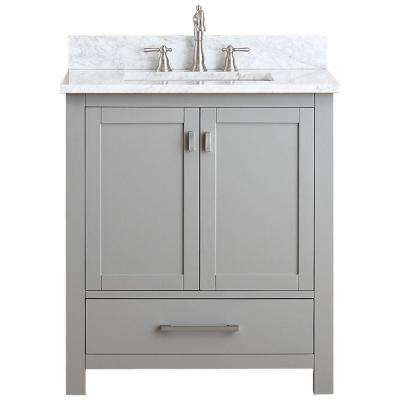 Modero 31 in. W x 22 in. D x 35 in. H Vanity in Chilled Gray with Marble Vanity Top in Carrera White and White Basin