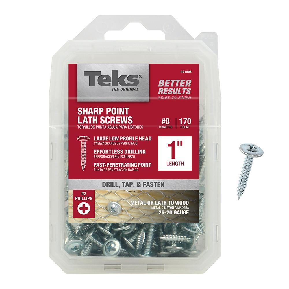 #8 x 1 in. Phillips Zinc-Plated Steel Truss-Head Lath Screws (170-Pack)
