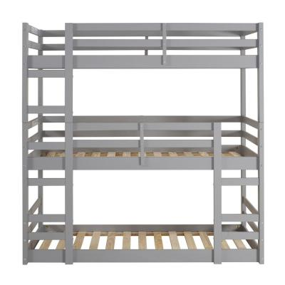 Transitional Solid Wood Triple Low Bunk Bed - Grey