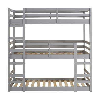 Solid Wood Grey Twin Triple Bunk Bed