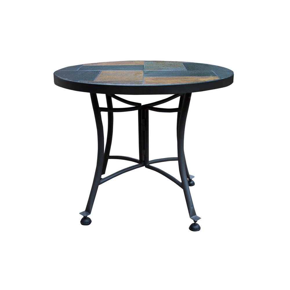 Outdoor Interiors Round Rustic Slate Metal Outdoor Accent Table