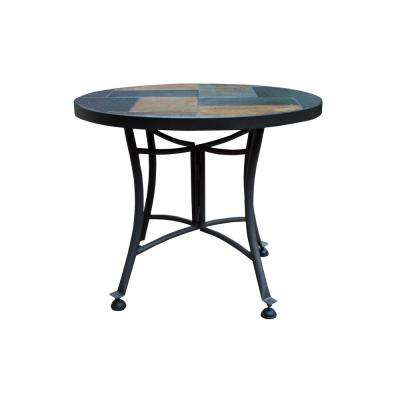 Round Rustic Slate Metal Outdoor Accent Table