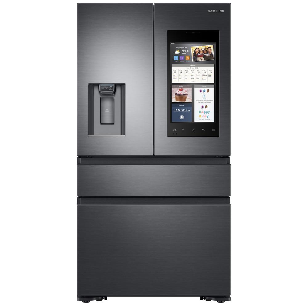 Samsung 22.6 cu. Ft. Family Hub 4-Door French Door Recessed Handle Smart Refrigerator in Black Stainless Steel, Counter Depth