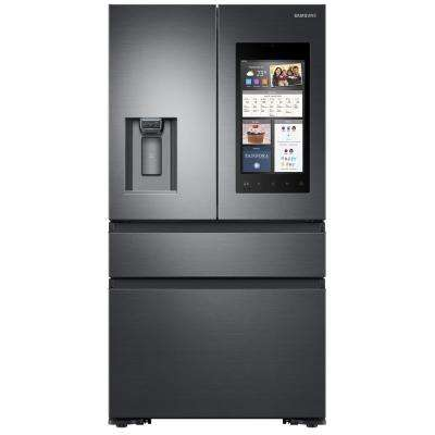 22.6 cu. Ft. Family Hub 4-Door French Door Recessed Handle Smart Refrigerator in Black Stainless Steel, Counter Depth
