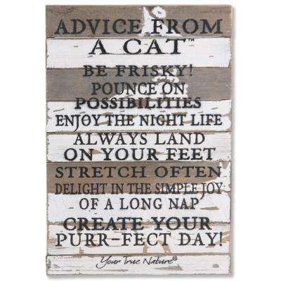 """Advice From A Cat"" Reclaimed Wood Decorative Sign"