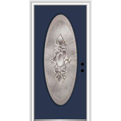 36 in. x 80 in. Heirlooms Left-Hand Inswing Large Oval Lite Decorative Painted Fiberglass Smooth Prehung Front Door
