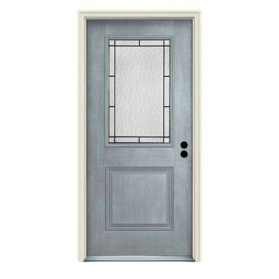36 in. x 80 in. Left-Hand 1/2-Lite Wendover Stone Stained Fiberglass Prehung Front Door with Brickmould