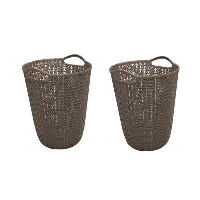 3 Gal. Brown Knit Round Waste Basket (2-Pack)