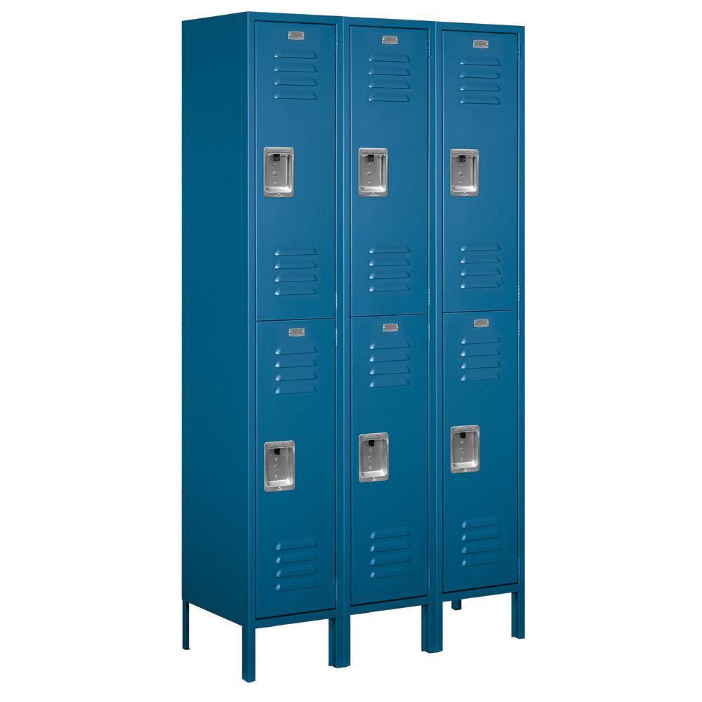 52000 Series 45 in. W x 78 in. H x 15 in. D Double Tier Extra Wide Metal Locker Unassembled in Blue