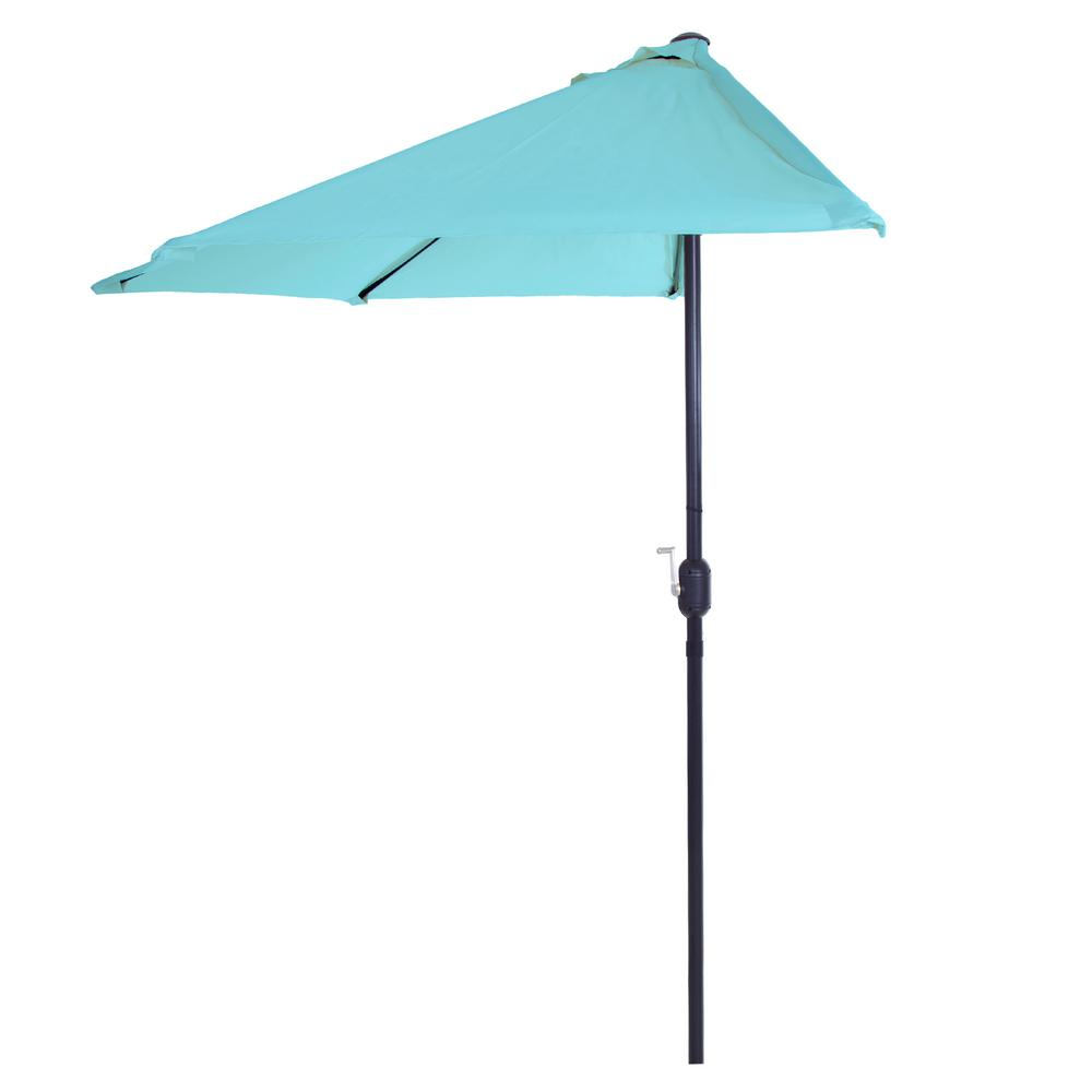 Half Round Patio Umbrella In Blue