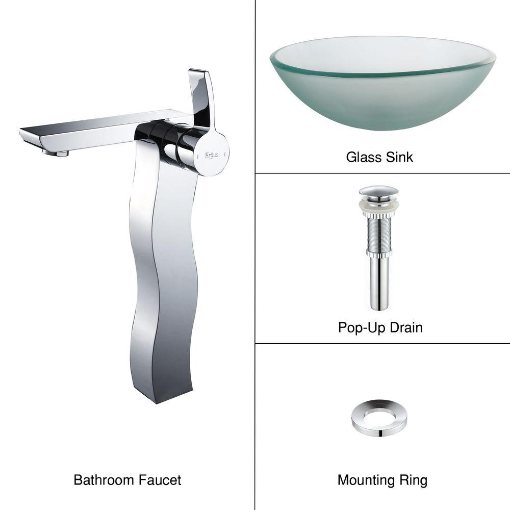 KRAUS Frosted Glass Vessel Sink in Clear with Sonus Faucet in Chrome
