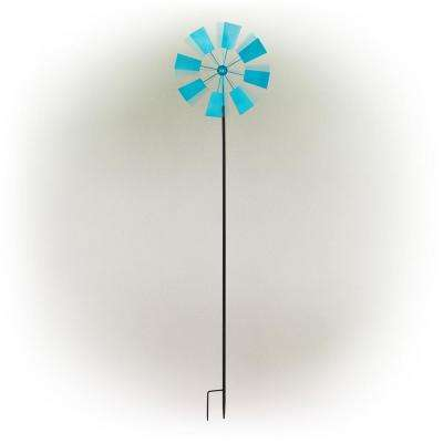 52 in. Tall Outdoor Metal Windmill Spinner Stake Yard Decoration, Blue