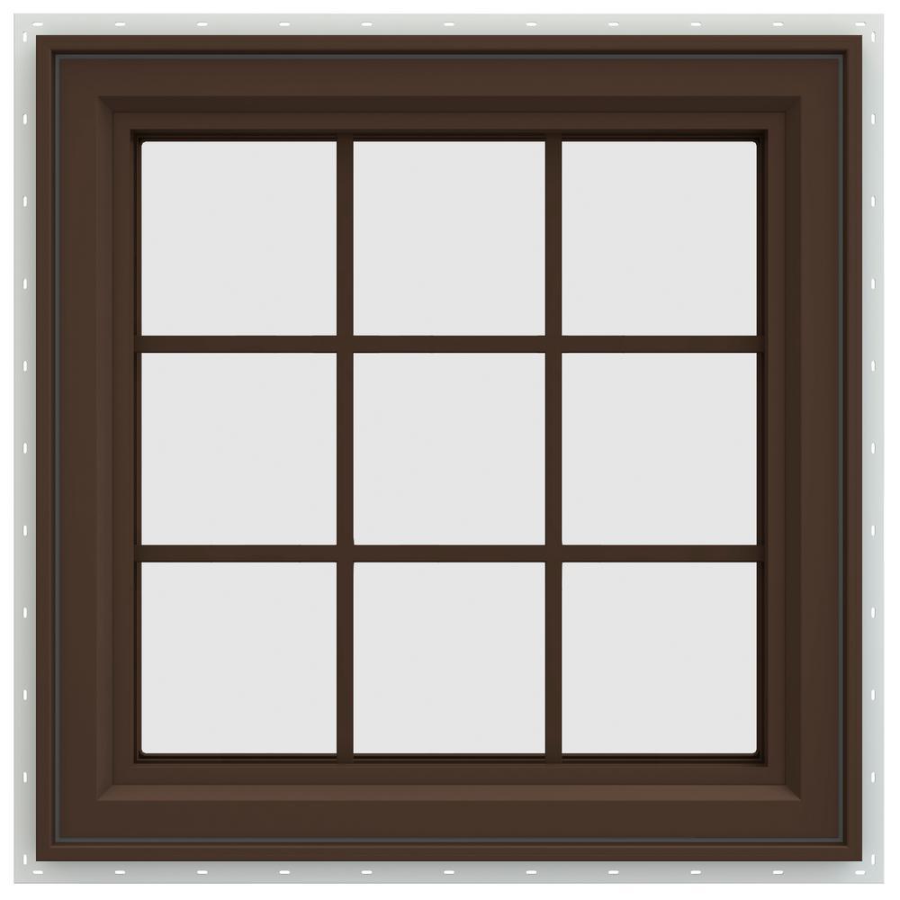 29.5 in. x 29.5 in. V-4500 Series Left-Hand Casement Vinyl Window with Grids - Brown