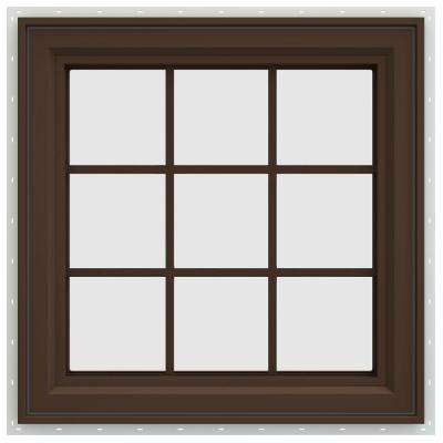 35.5 in. x 35.5 in. V-4500 Series Right-Hand Casement Vinyl Window with Grids - Brown