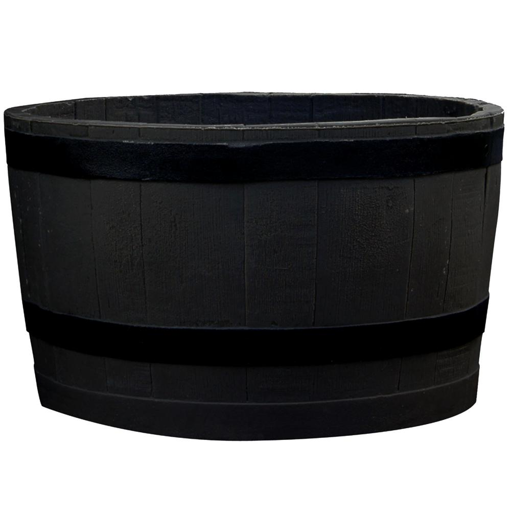 RTS Home Accents 24 in. x 24 in. x 14 in. Black Plastic Barrel Planter