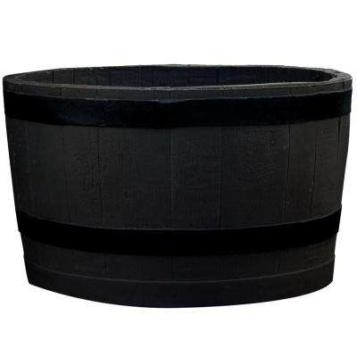 24 in. x 24 in. x 14 in. Black Plastic Barrel Planter - Sanded