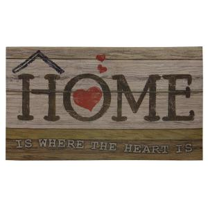 Home is Where the Heart is 18 inch x 30 inch Door Mat by