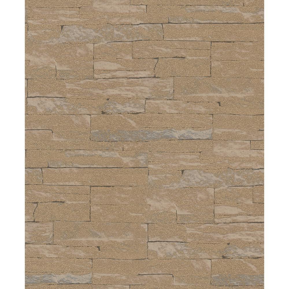 8 in. x 10 in. Rheta Brown Stone Wallpaper Sample