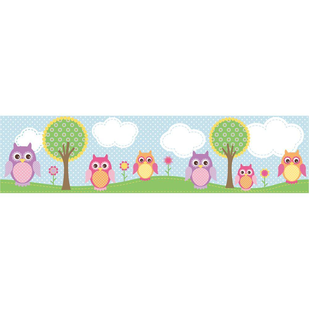 Brewster 6 in. Owls In The Hood Light Blue Owl Border