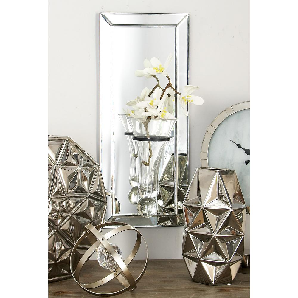 Modern Mirror Wall Panel with Suspended Glass Vase