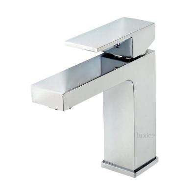 Single Hole Single Handle Contemporary Bathroom Vanity Sink Lavatory Faucet with Drain in Chrome