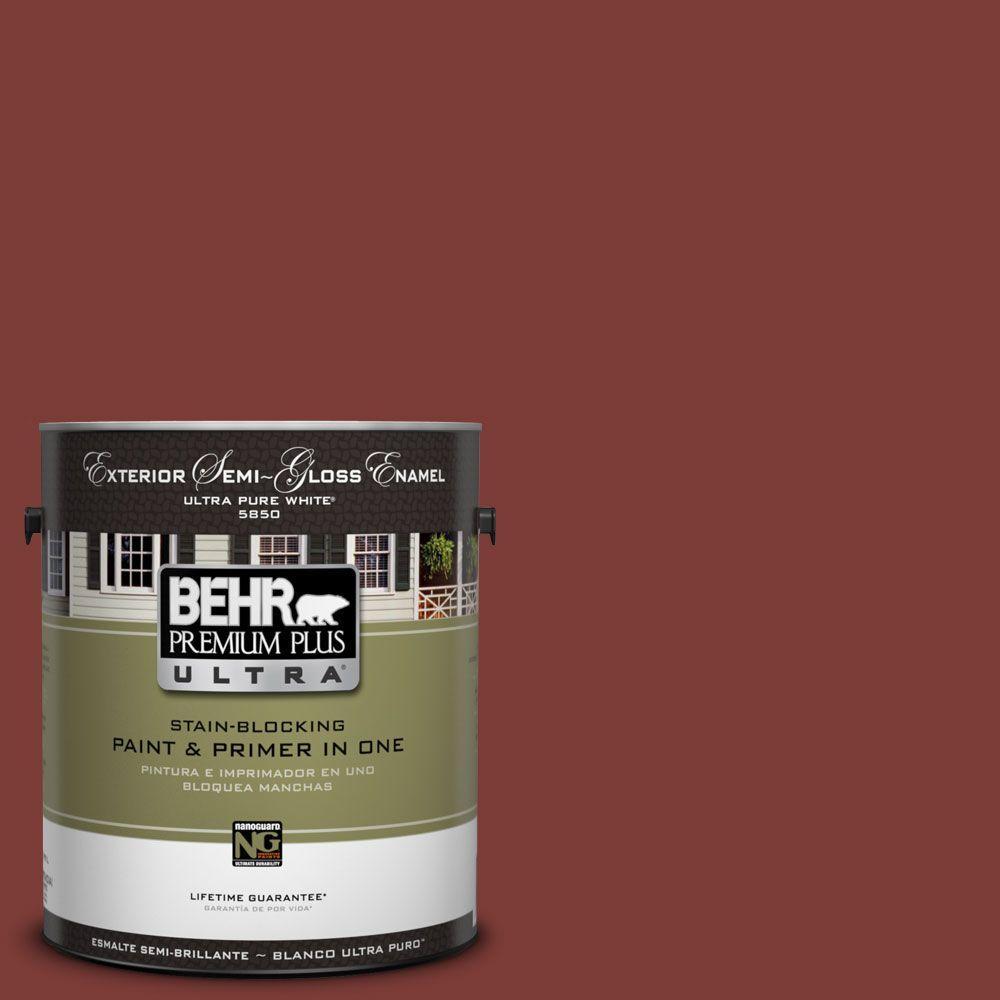 BEHR Premium Plus Ultra 1-Gal. #UL120-22 Red Pepper Semi-Gloss Enamel Exterior Paint