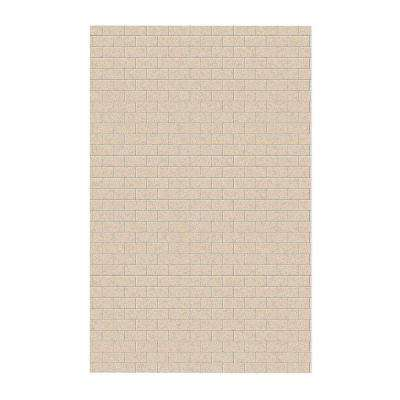 Subway Tile 62 in. x 96 in. 1-Piece Easy Up Adhesive Shower Panel in Bermuda Sand